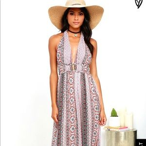 Lulu's printed halter maxi dress